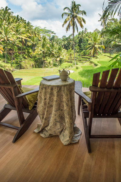 Ayurveda resort in Bali, surrounded by ricefields